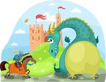 Dragão e cavaleiro Fotografia de Stock