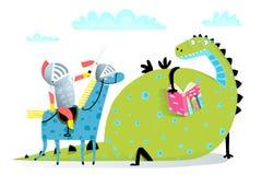 Dragão e cavaleiro do livro de leitura no ataque do cavalo ilustração do vetor