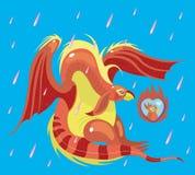 Dragão e foto cor-de-rosa do amor. ilustração royalty free