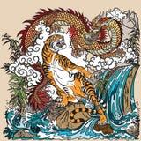 Dragão e tigre chineses na paisagem Fotografia de Stock Royalty Free