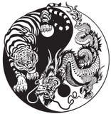 Dragão e tigre de Yin yang Imagens de Stock Royalty Free