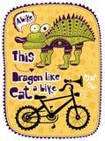 Dragão e uma bicicleta ilustração do vetor
