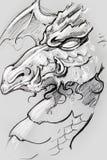 Dragão, esboço da tatuagem, projeto feito a mão sobre o papel do vintage Fotografia de Stock Royalty Free