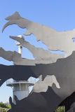 Dragão gigante do metal no parque industrial de Espanya, Barcelona, Espanha Fotografia de Stock