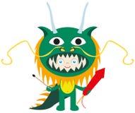 Dragão-menino ilustração royalty free