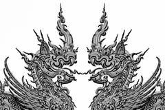 Dragão na arte tailandesa tradicional do molde do estilo Imagens de Stock Royalty Free
