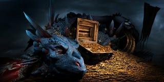Dragão na pilha de ouro ilustração royalty free