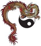 Dragão oriental e símbolo de Yin Yang Fotografia de Stock