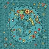 Dragão pequeno bonito no estilo étnico ilustração do vetor