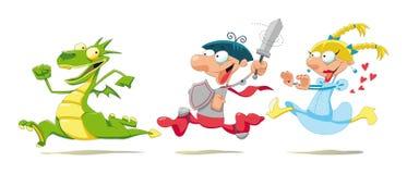 Dragão, príncipe e princesa. ilustração royalty free