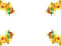 Dragão quatro dourado no fundo branco. Imagem de Stock