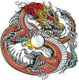 Dragão que guarda a pérola ilustração do vetor