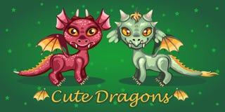 Dragão Toothy em um fundo verde Foto de Stock Royalty Free
