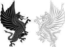 Dragão tribal da tatuagem no fundo branco fotos de stock