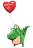 Dragão verde com o coração-balão vermelho grande Foto de Stock