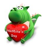 Dragão verde e coração vermelho grande Fotografia de Stock