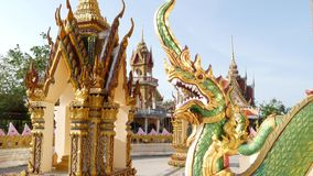 Dragão verde na jarda oriental do templo Estátua do dragão verde situada na jarda do santuário asiático tradicional no dia ensola video estoque
