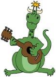 Dragão verde que joga uma guitarra ilustração royalty free