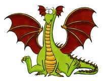 Dragão verde que senta-se no assoalho Fotos de Stock Royalty Free