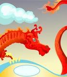 Dragão vermelho com espaço em branco para o texto Fotos de Stock