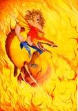 Dragão vermelho na flama Fotografia de Stock