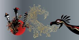 Dragón antiguo que ataca la ciudad japonesa stock de ilustración