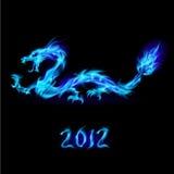 Dragón azul del fuego ilustración del vector