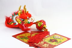 Dragón chino de la linterna del envolop del regalo Fotografía de archivo