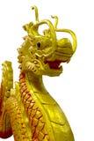 Dragón chino de oro en fondo del aislante Imagen de archivo libre de regalías