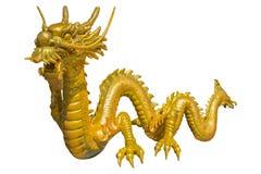 Dragón chino de oro gigante en fondo del aislante Imagen de archivo libre de regalías