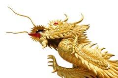 Dragón chino de oro gigante en fondo del blanco del aislante Foto de archivo libre de regalías