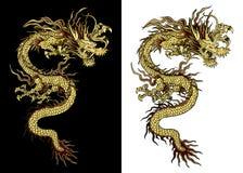 Dragón chino de oro tradicional Imagenes de archivo