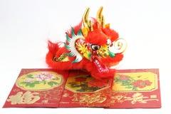Dragón chino del envolop del regalo Fotografía de archivo