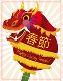 Dragón chino rojo tradicional sobre la perla en el festival de primavera, ejemplo del vector stock de ilustración