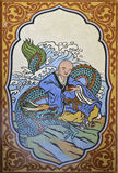 Dragón chino y pintura china del monje en la pared en templo chino Imagen de archivo