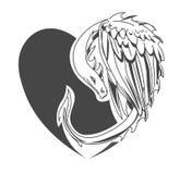 Dragón con el corazón para el día de tarjetas del día de San Valentín Imágenes de archivo libres de regalías