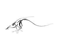 Dragón corriente, línea arte estilizada libre illustration