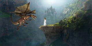 Dragón de la fantasía, castillo, muchacha, imaginación, princesa