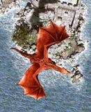 dragón de la fantasía 3d en la isla mítica Imágenes de archivo libres de regalías