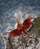 dragón de la fantasía 3d en la isla mítica Imagen de archivo libre de regalías