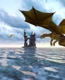 dragón de la fantasía 3d en la isla mítica Fotos de archivo