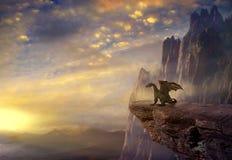 Dragón de la fantasía en la roca
