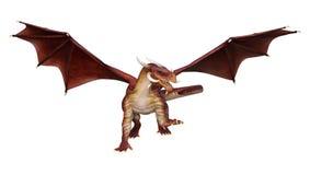 dragón de la fantasía de la representación 3D en blanco Imágenes de archivo libres de regalías