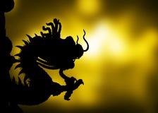 Dragón de la sombra en un fondo del oro Fotografía de archivo
