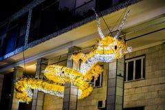 Dragón de luces en Salerno Fotos de archivo libres de regalías