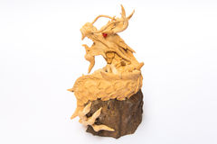 Dragón de madera chino Imagenes de archivo
