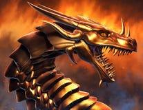 Dragón de oro épico stock de ilustración