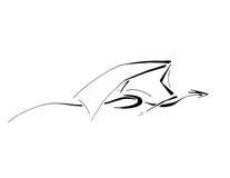 Dragón de vuelo, línea arte estilizada Imágenes de archivo libres de regalías