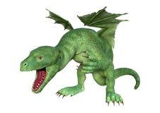 dragón del Hatchling de la fantasía de la representación 3D en blanco Foto de archivo libre de regalías