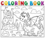 Dragón del libro de colorear cerca del tema 1 del castillo Imagenes de archivo